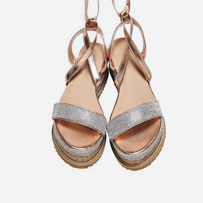 Aliana Diamante Espadrille Sandals in Rose Gold Faux Leather - Feet First Fashion