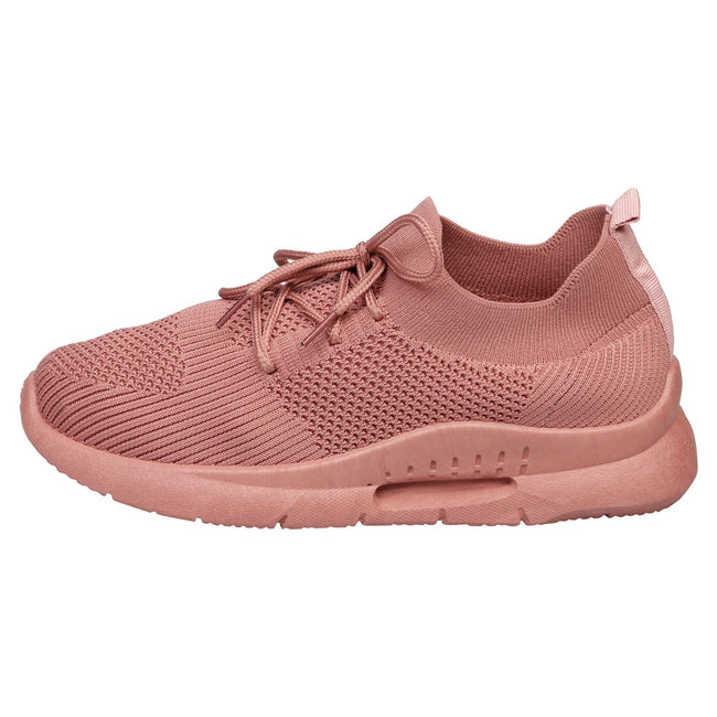 Dalary Knit Pull On Trainers  in Dusty Pink - Feet First Fashion