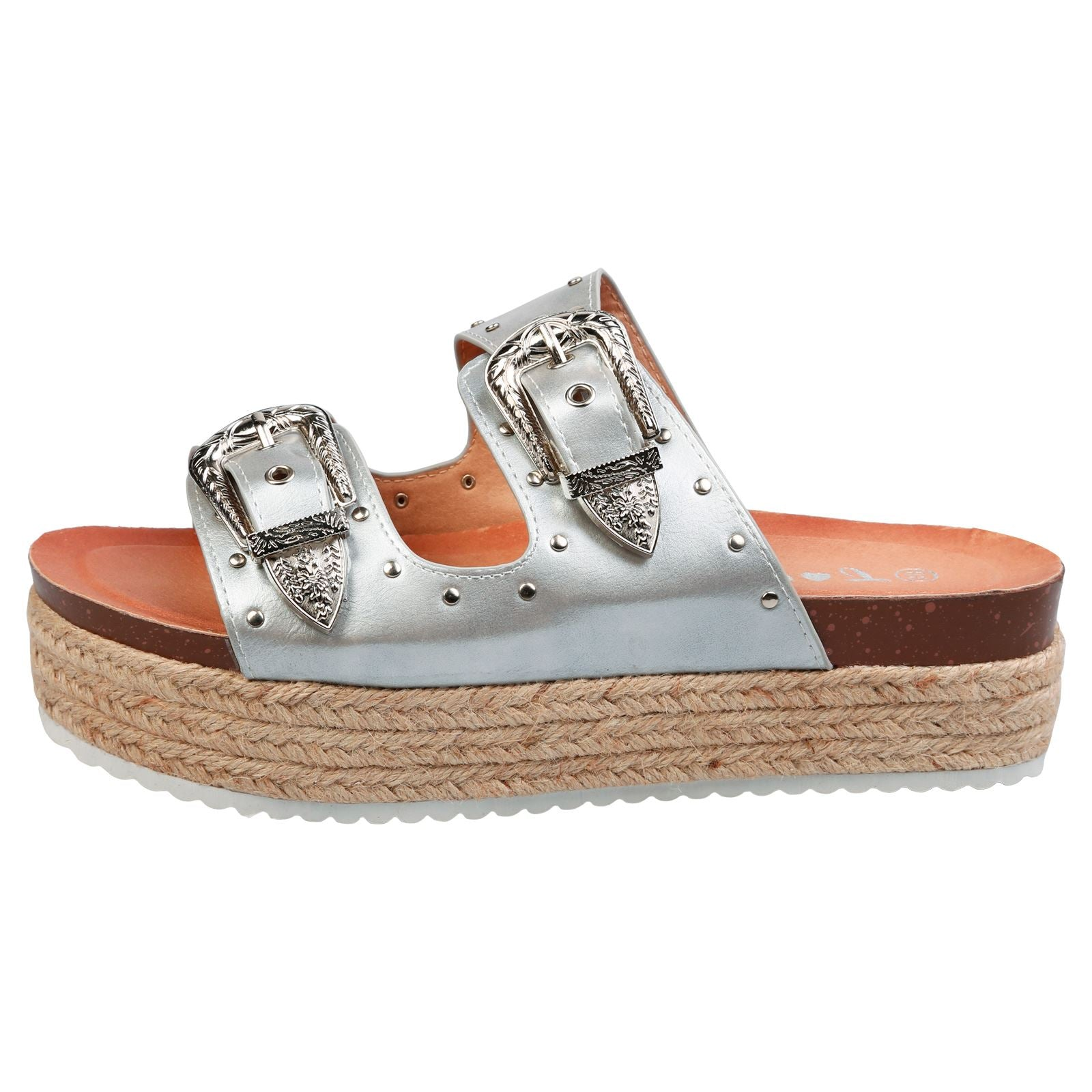 Gianna Buckle Detail Flatform Espadrille Sliders in Silver Faux Leather