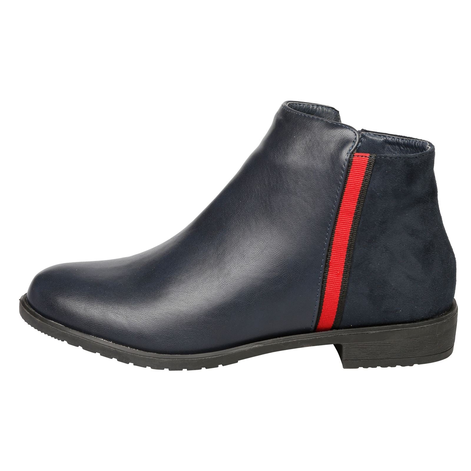 Harleigh Two Tone Ankle Boots in Navy Blue - Feet First Fashion
