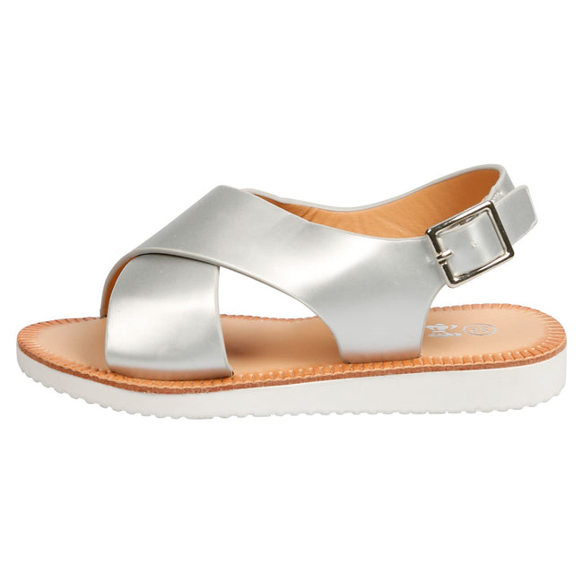 Rikki Girls Slingback Sandals in Silver Faux Leather - Feet First Fashion