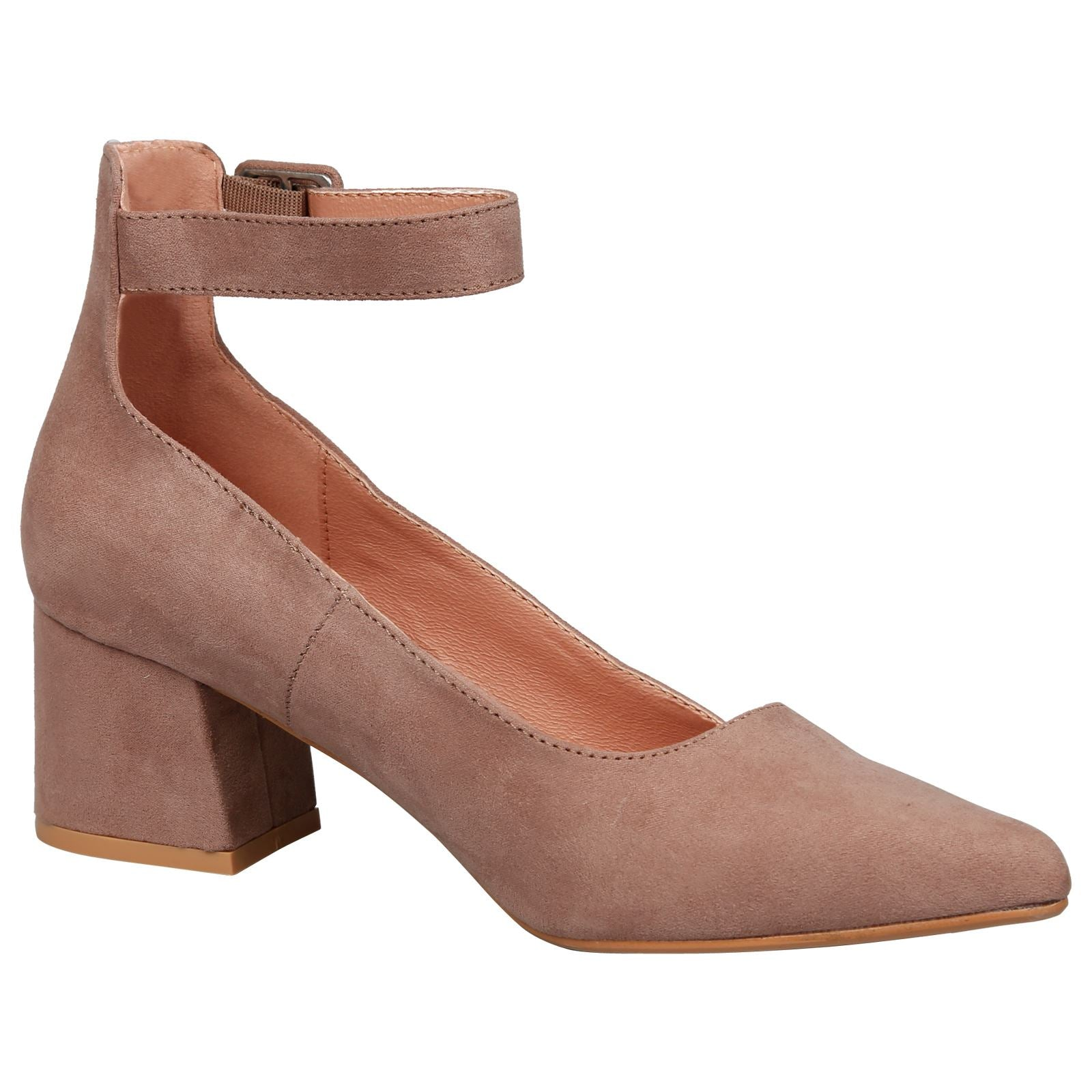 Annalise Ankle Cuff Low Heel Shoes in Tan Faux Suede