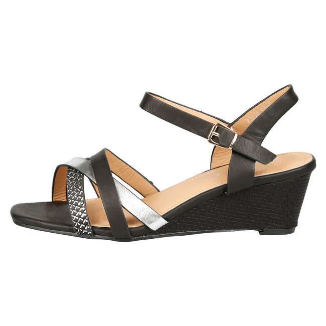 Marjorie Low Wedge Sandals in Black Faux Leather