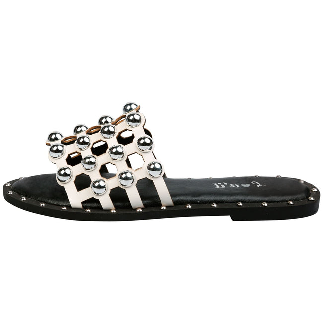 Carolyn Studded Sliders in White Faux Leather
