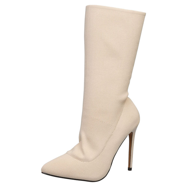 Kailey Stilleto Heel Under Knee Boots   in Beige - Feet First Fashion