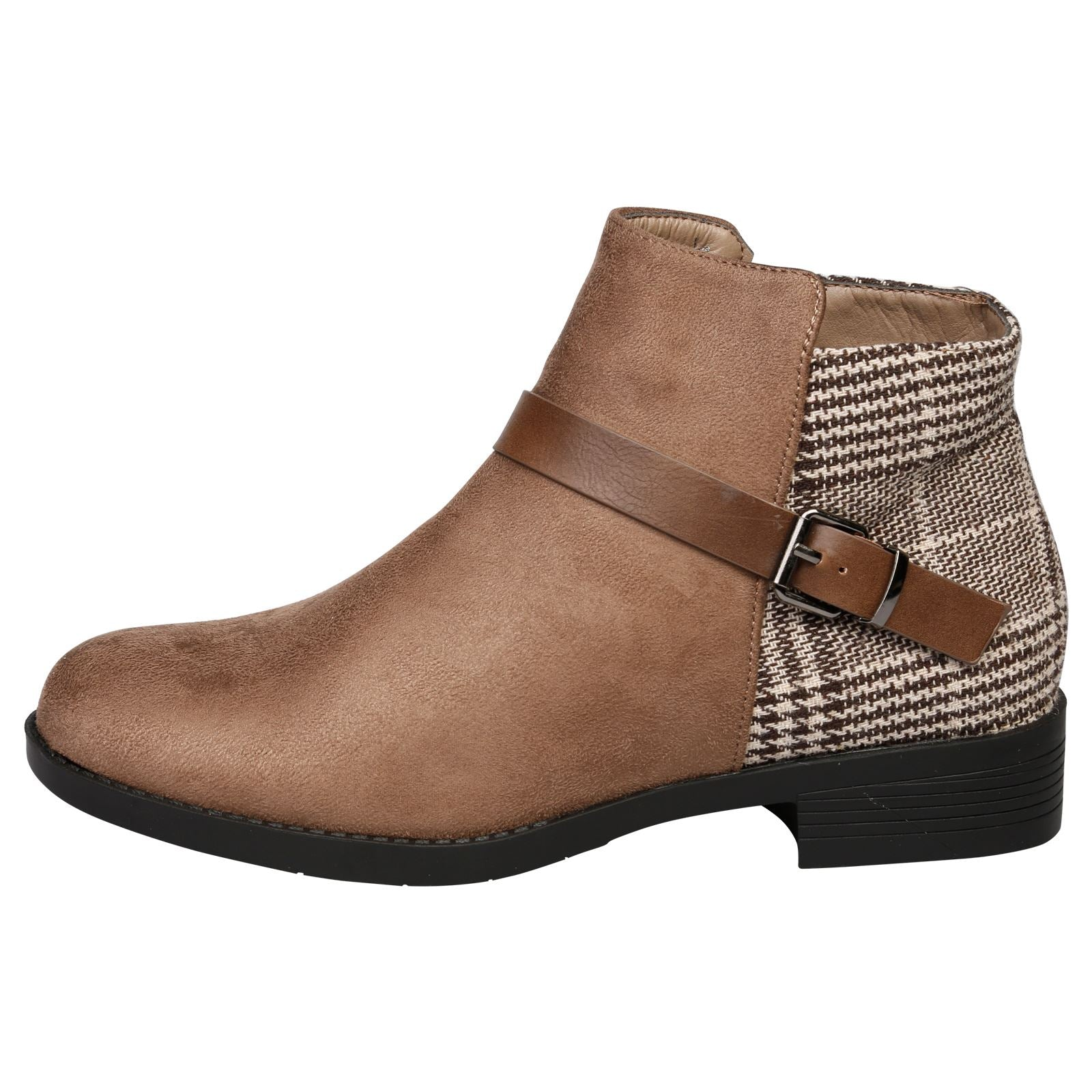 Hailee Houndstooth Ankle Boots in Khaki Brown - Feet First Fashion