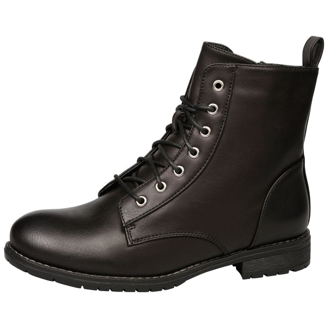 Jayde Lace Up Combat Boots in Black - Feet First Fashion