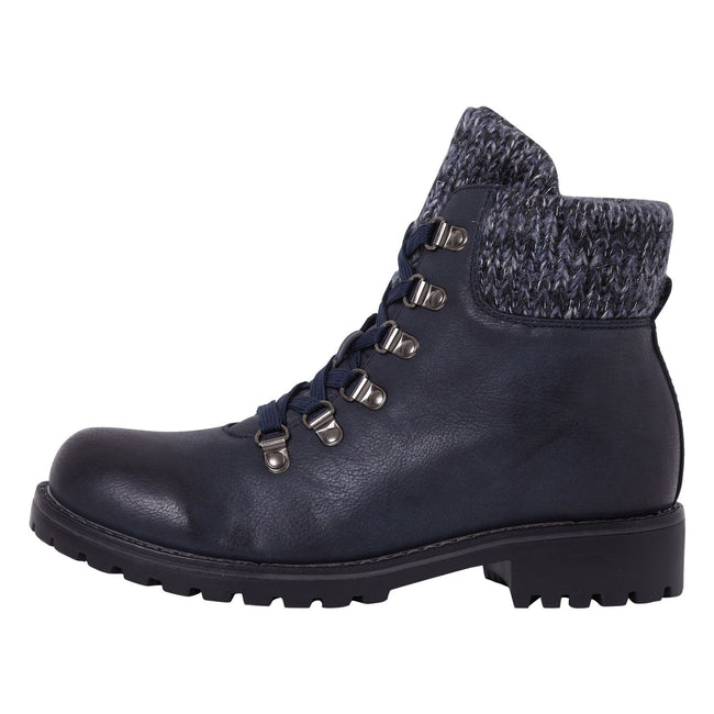 Zendaya Combat Ankle Boots in Navy Faux Leather - Feet First Fashion
