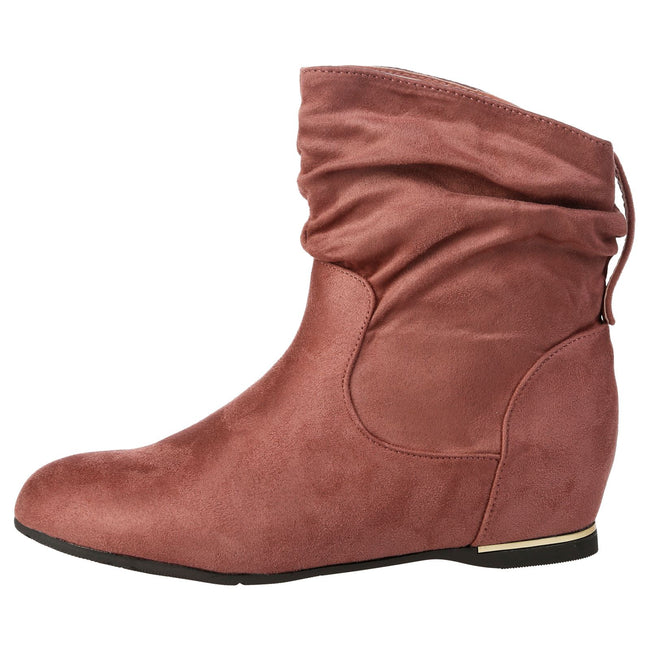 Daphne Hidden Wedge Slouchy Ankle Boots in Pink Faux Suede