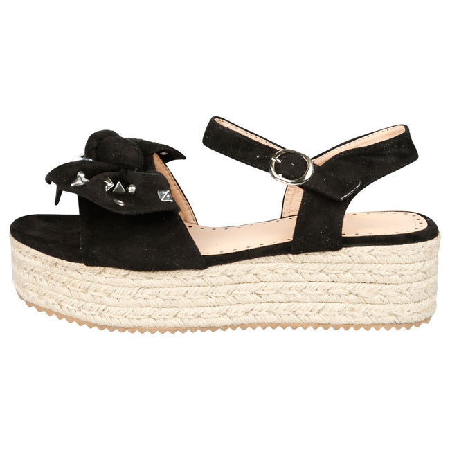 Selma Studded Bow Flatform Espadrille Sandals in Black Faux Suede