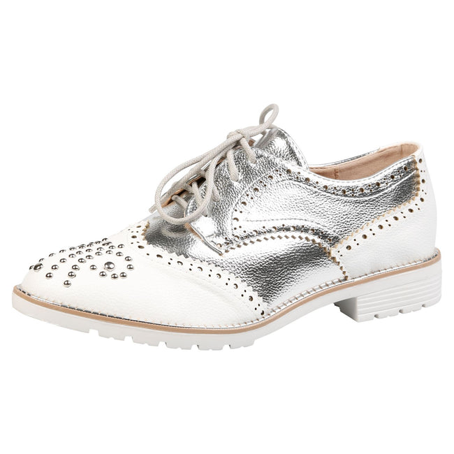 Vashti Two Tone Brogues in White & Silver