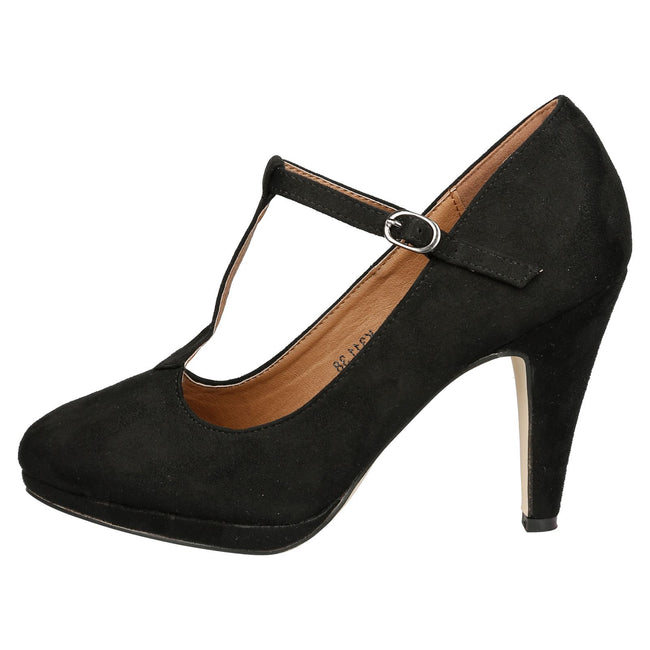 Milena Heeled T- Strap Pumps in Black Faux Suede - Feet First Fashion
