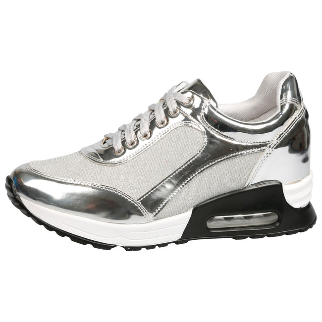 Pepper Low Wedge Shimmer Trainers in Silver