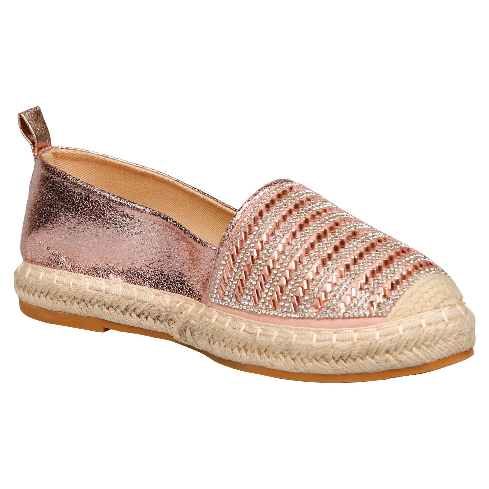 Keeva Diamante Metallic Espadrilles in Rose Gold Faux Leather