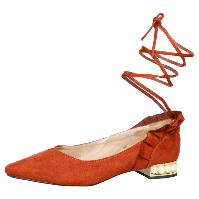 Jaelynn Lace Up Ballerina Flats in Orange