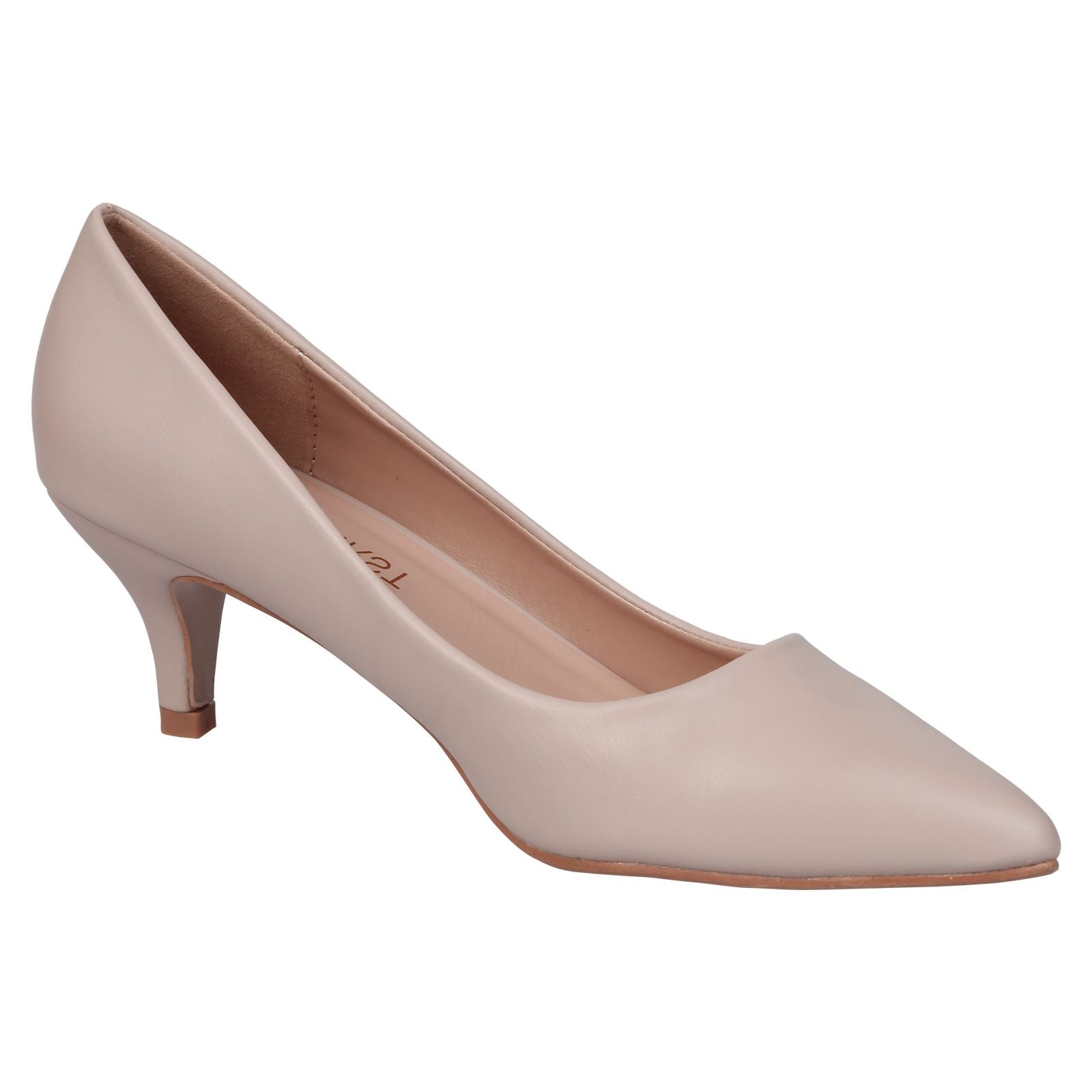 Miranda Kitten Heel Pointed Toe Court Shoes in Nude Faux Leather