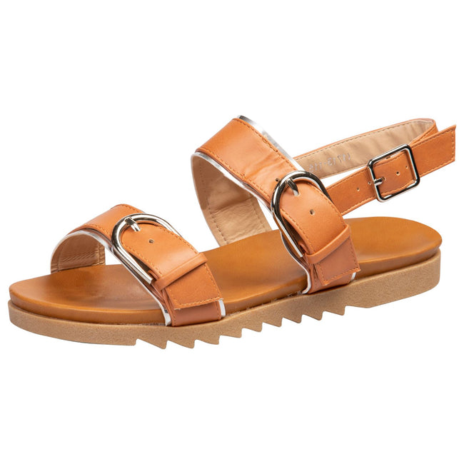 Alice Buckle Detail Sandals in Camel Faux Leather - Feet First Fashion