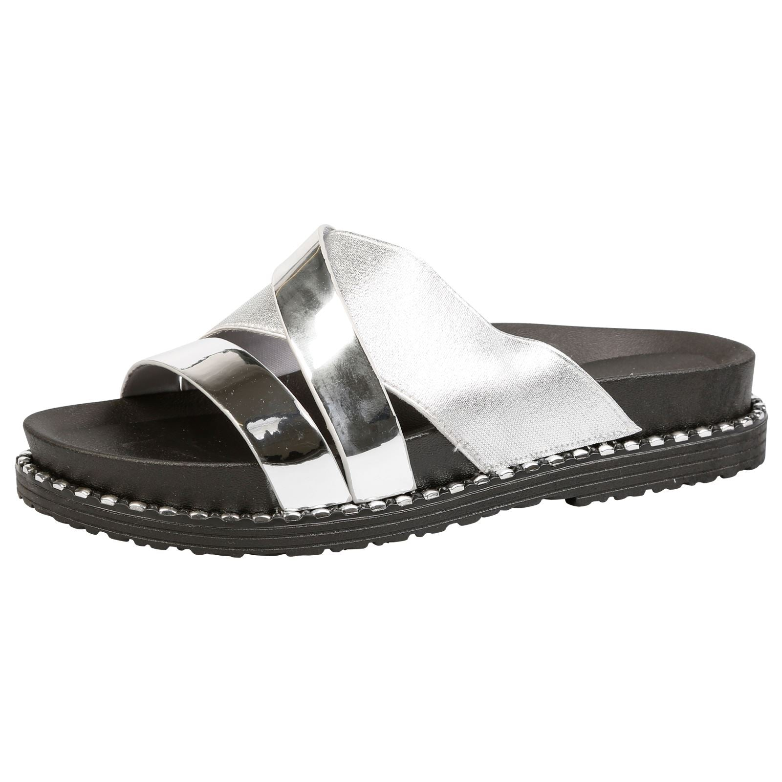 Tayler Two Tone Sliders in Silver