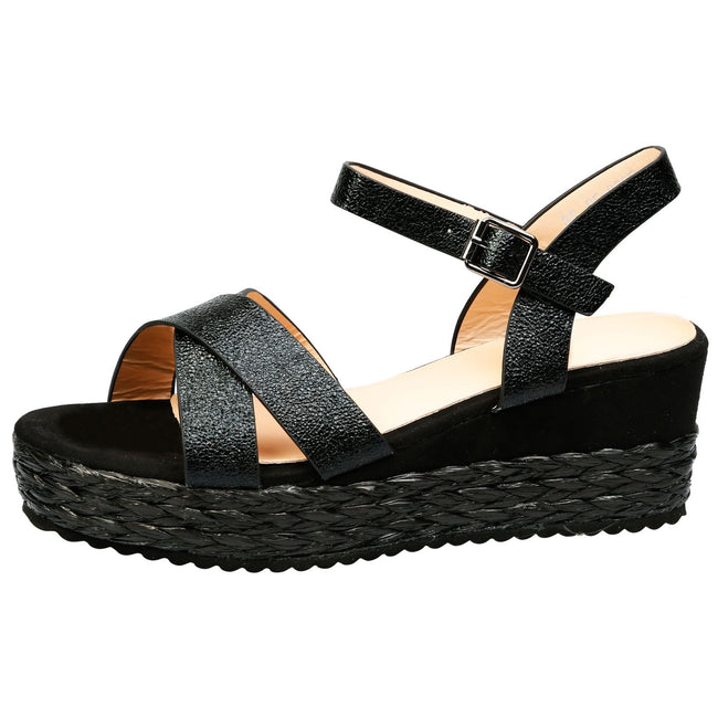 Anjali Braided Platform Wedge Sandals in Black