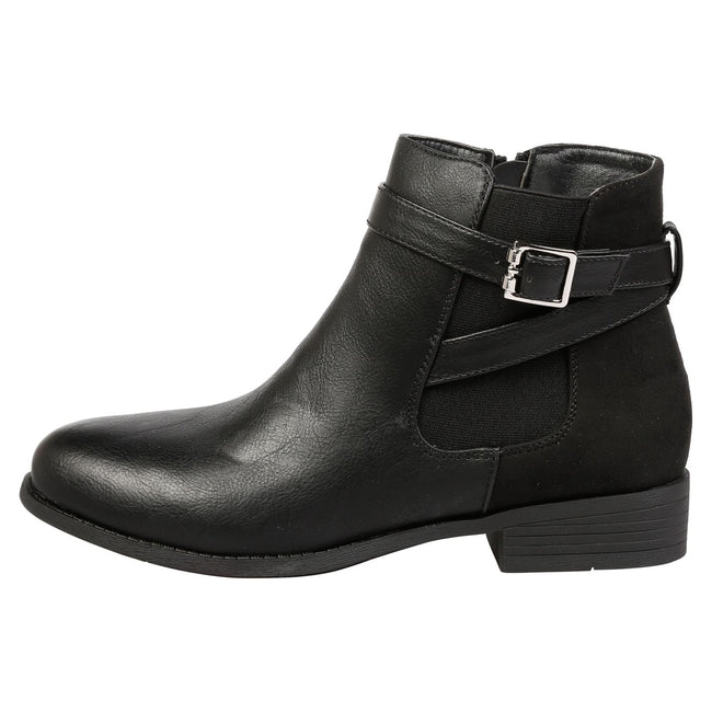 Monica Buckle Detail Ankle Boots in Black - Feet First Fashion