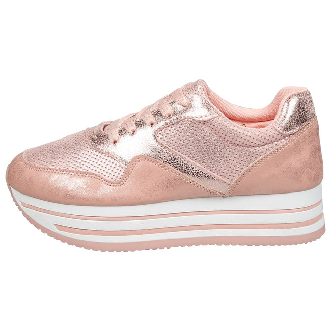 Dolores Stripe Sole Flatform Trainers in Pink
