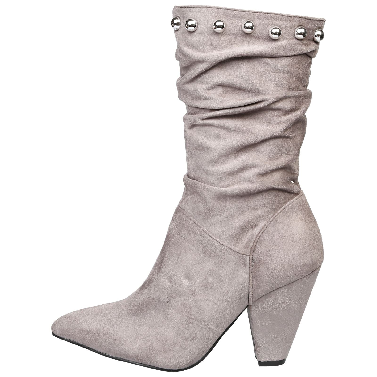 Analia Studded Slouch Boots in Grey - Feet First Fashion