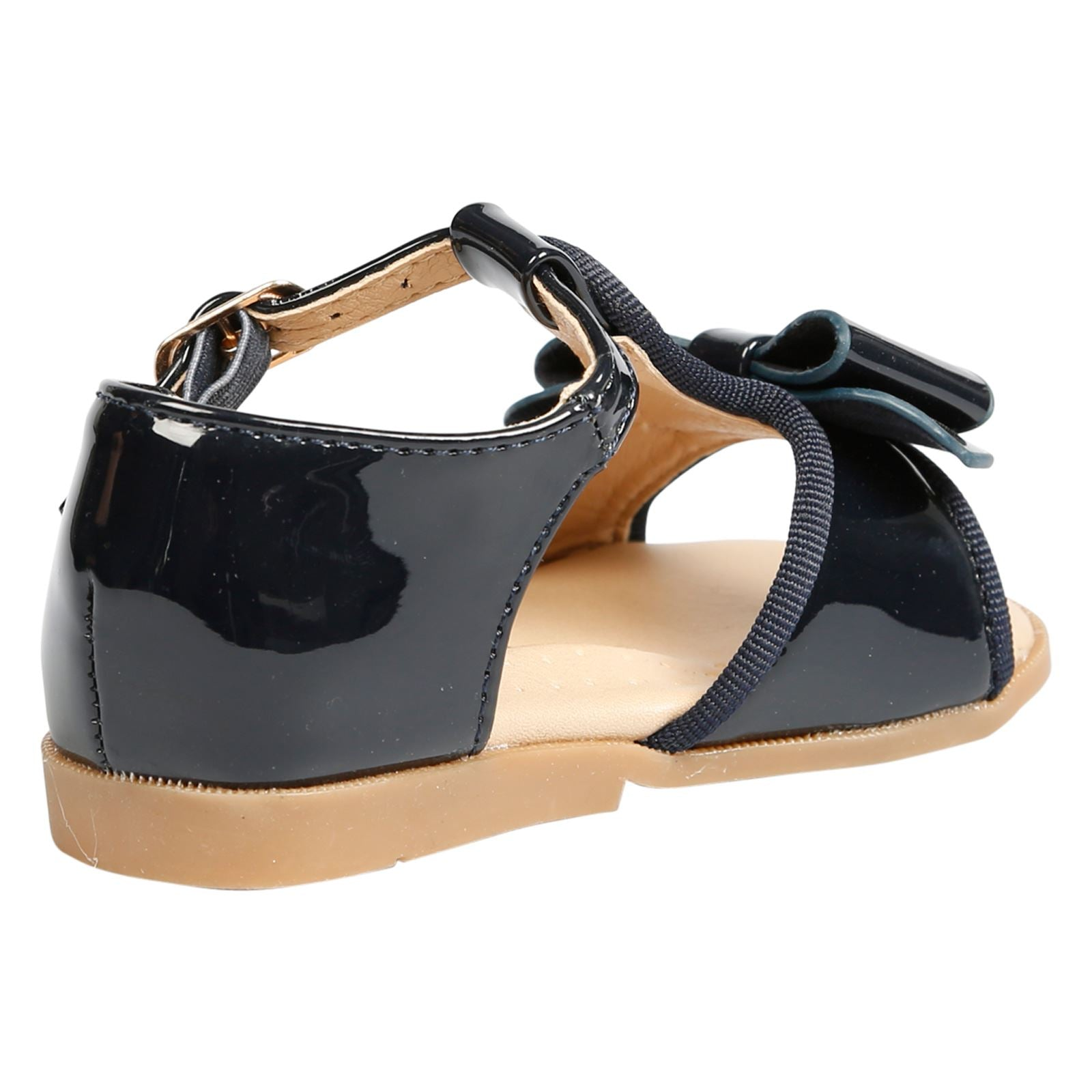 Lilian Girls T-Bar Bow Sandals in Navy Patent - Feet First Fashion
