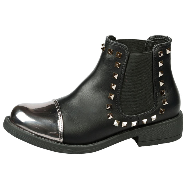 Ciara Studded Chelsea Boots in Black Faux Leather