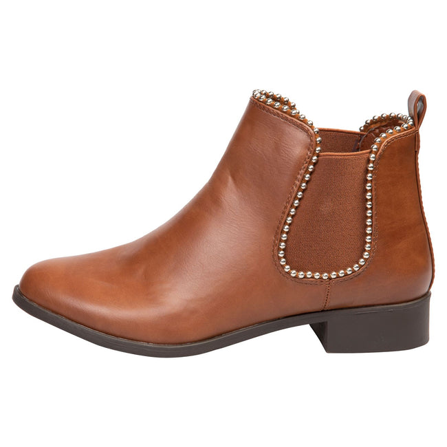 Judith Chelsea Ankle Boots in Camel Faux Leather - Feet First Fashion