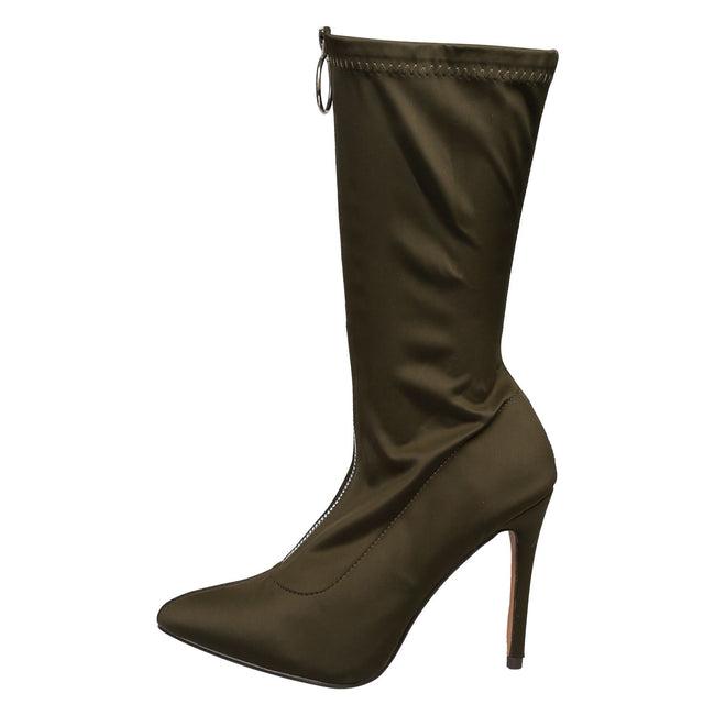 Cynthia Stilleto Heel Mid Calf Boots in Army Green - Feet First Fashion