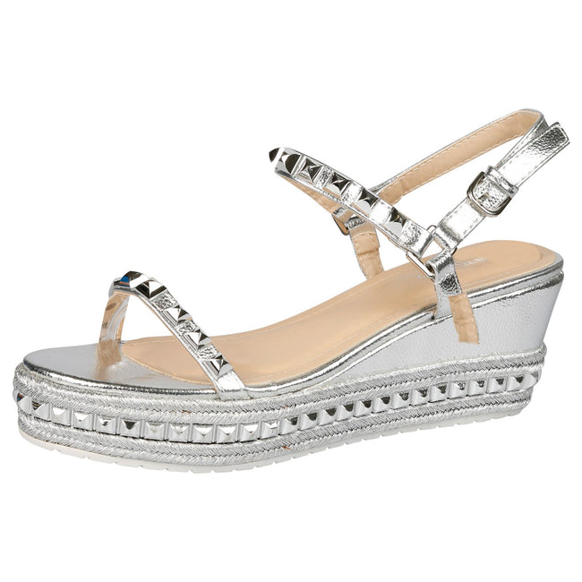 Tiffany Studded Platform Wedge Espadrille Sandals in Silver Faux Leather