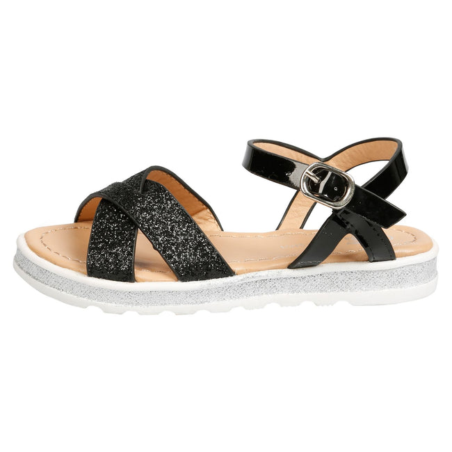 Bernice Girls Metallic Glitter Sandals in Black - Feet First Fashion