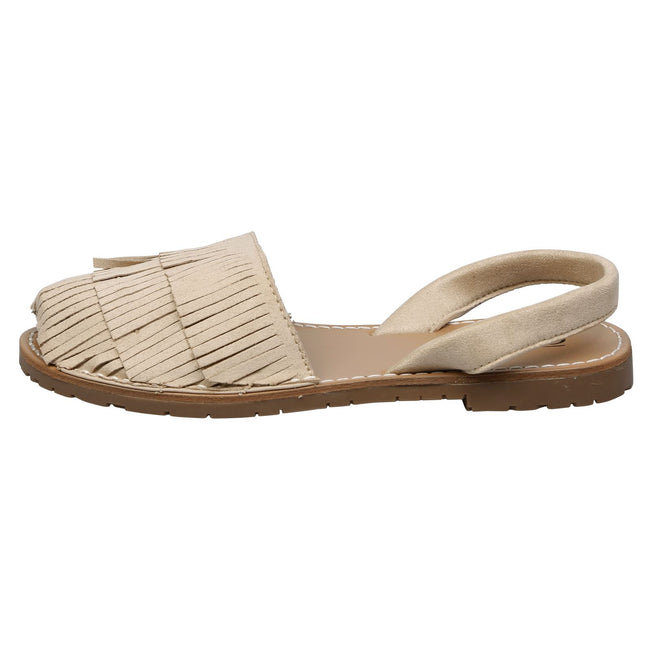 Philippa Fringed Slingback Menorcan Sandals in Beige Faux Suede