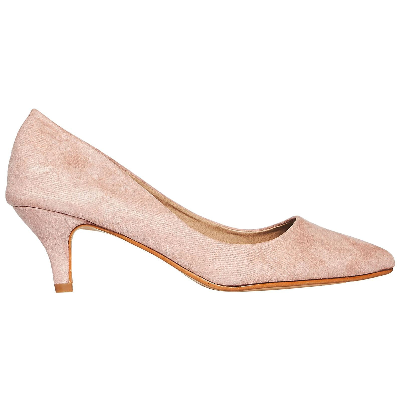 Miranda Kitten Heel Pointed Toe Court Shoes in Pink Faux Suede