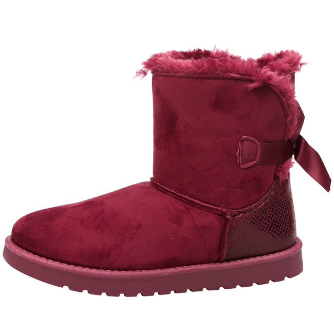 Lexi Bow Detail Snugg Ankle Boots in Wine Red Faux Suede