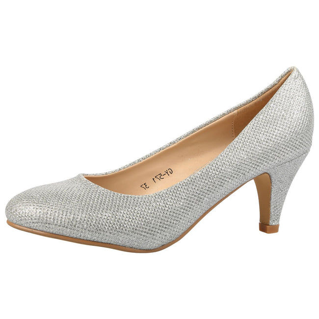 Leona Mid Heel Court Shoes in Silver Shimmer