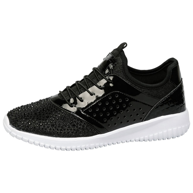 Ambrose Elasticated Diamante Trainers in Black