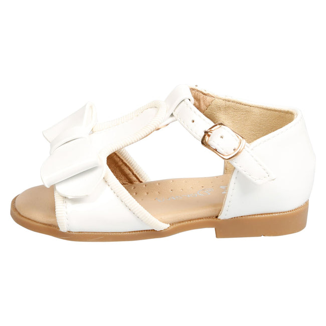 Lilian Girls T-Bar Bow Sandals in White Patent - Feet First Fashion