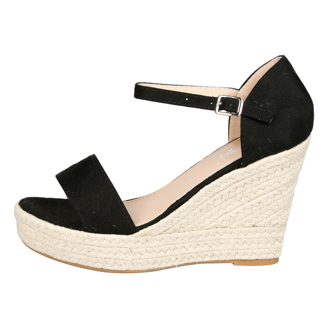 Gail Platform Wedge Ankle Strap Espadrille Sandals in Black Faux Suede