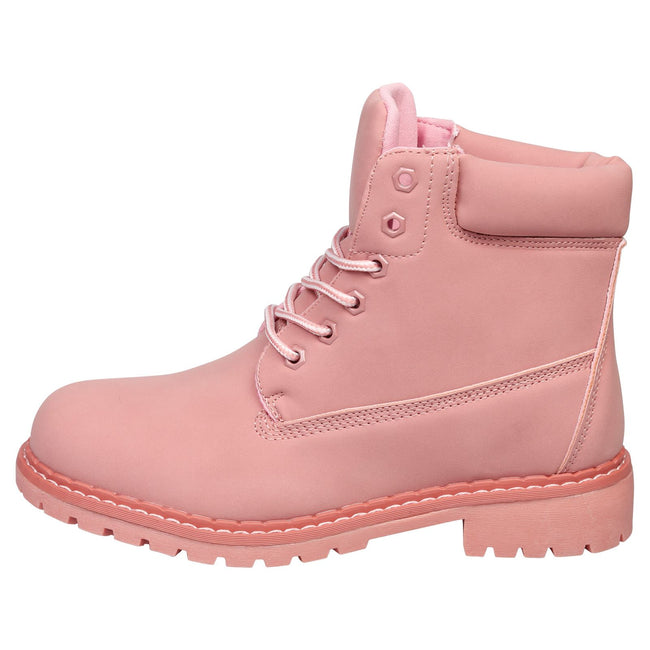 Tiana Lace Up Ankle Boots in Pink (Dusty) - Feet First Fashion
