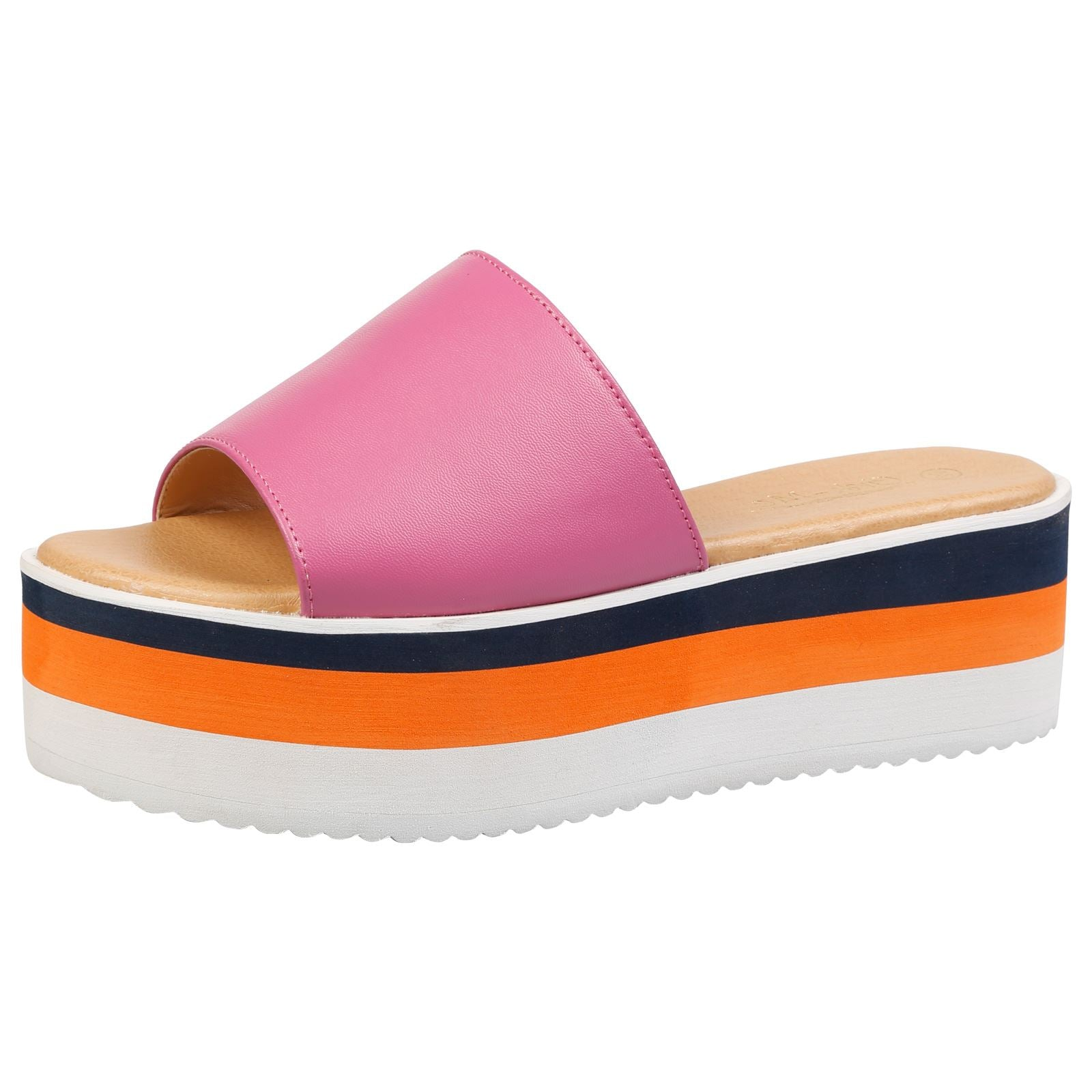 Alva Stripe Sole Flatform Sliders in Fuchsia Faux Leather