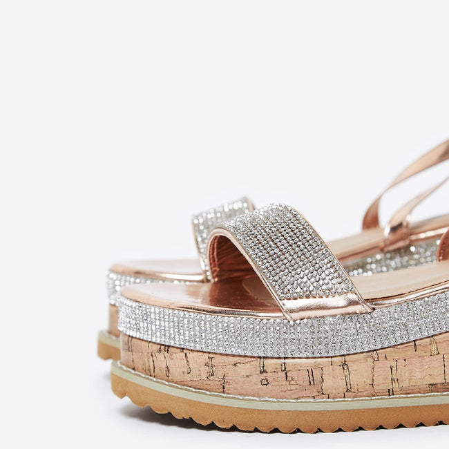 1f707d979496 Aliana Diamante Espadrille Sandals in Rose Gold Faux Leather - Feet First  Fashion