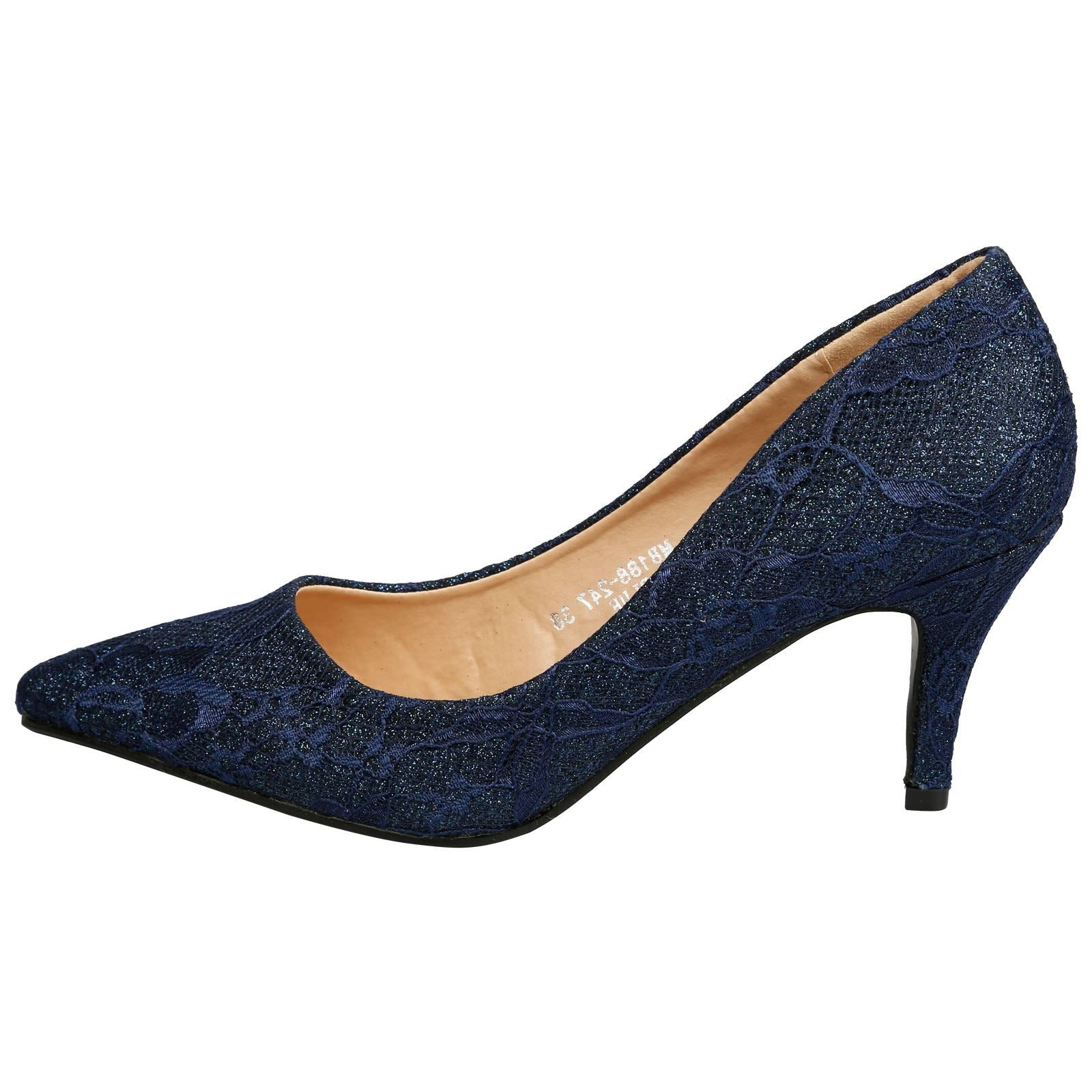 Katlyn Kitten Heel Court Shoes in Navy Lace