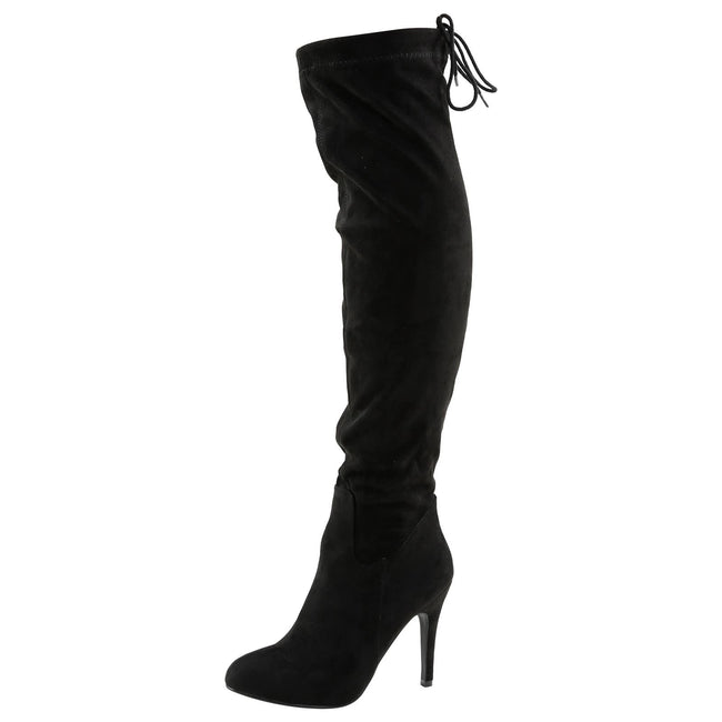 Gracia Stiletto Over the Knee Boots in Black Faux Suede