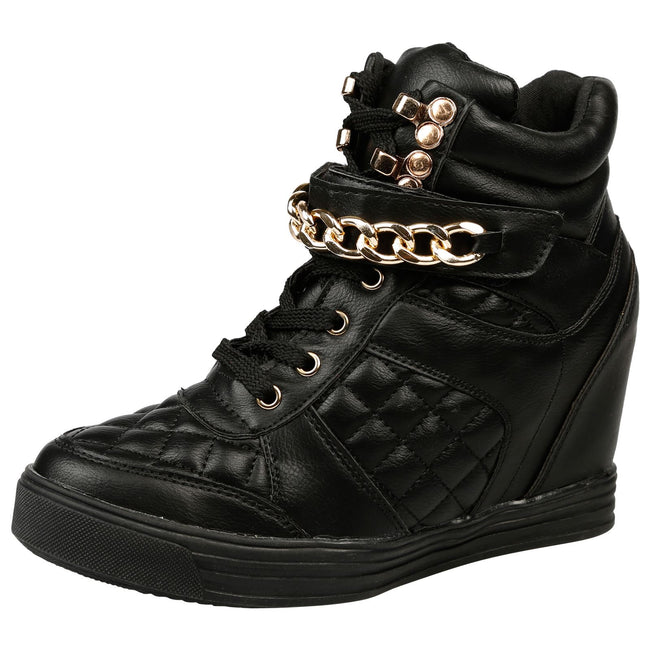 Monica Hidden Wedge Quilted Trainers in Black Faux Leather