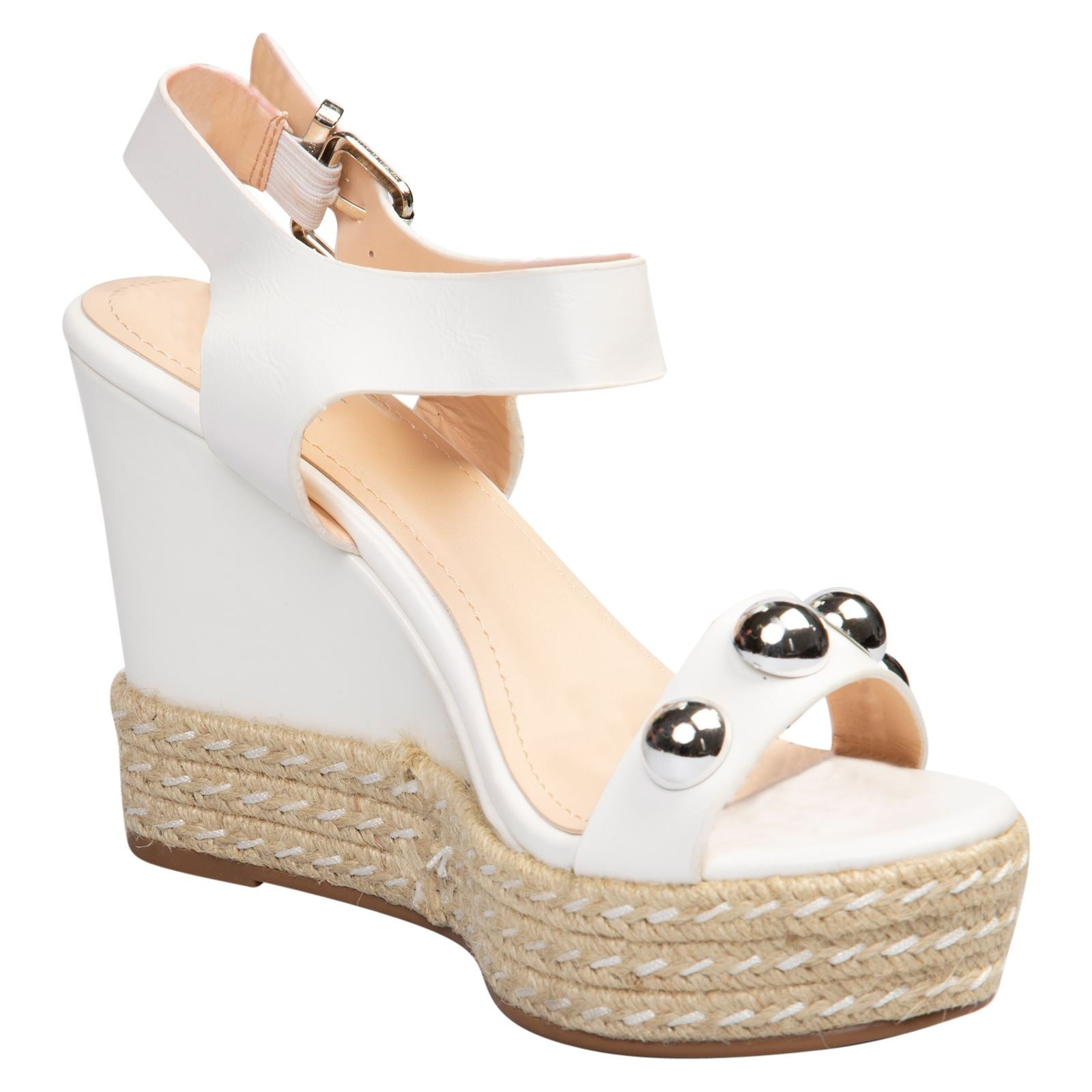 Iolanthe Studded Platform Sandals in White Faux Leather - Feet First Fashion