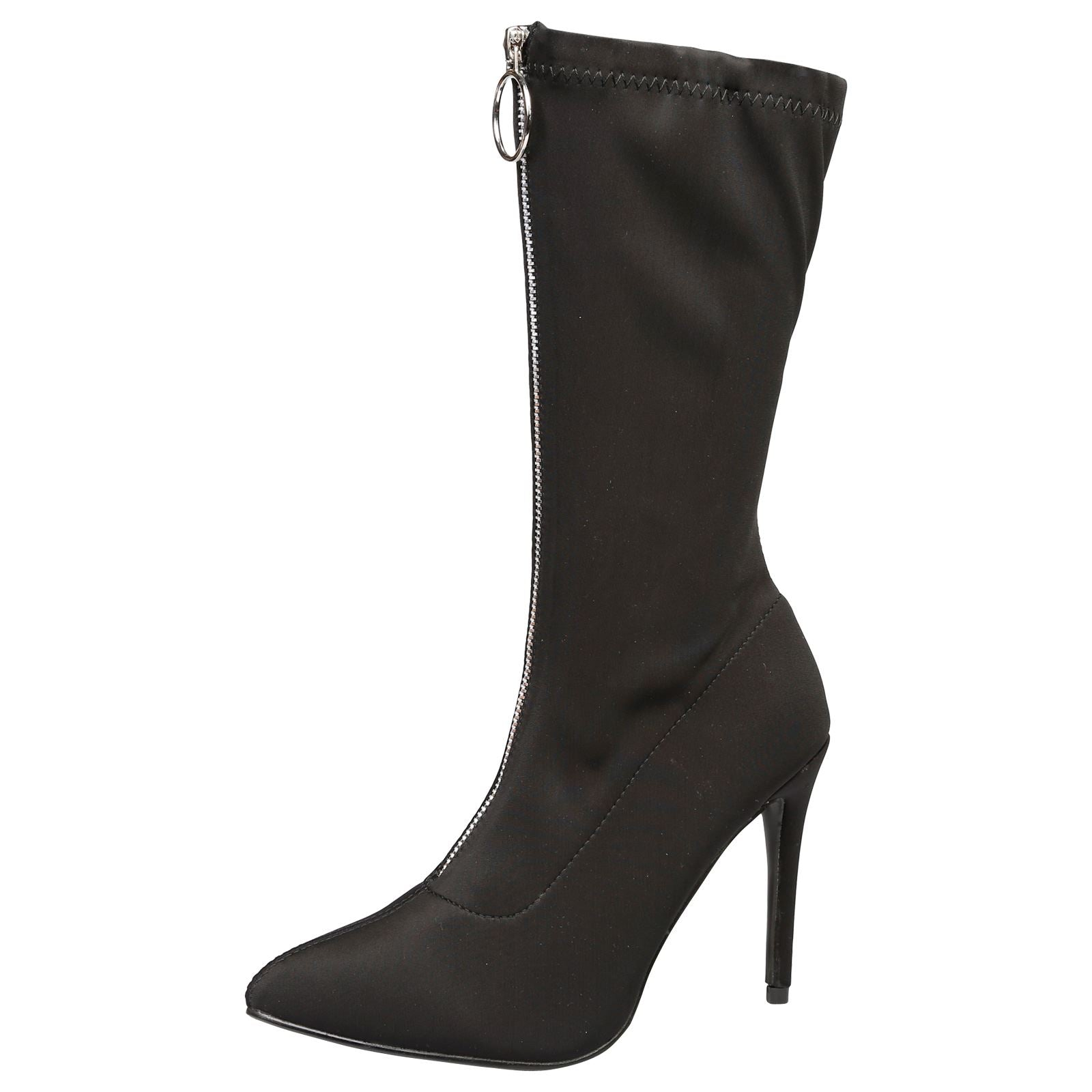 Cynthia Stilleto Heel Mid Calf Boots in Black - Feet First Fashion