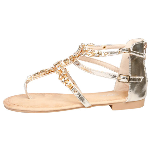 Laya Flat Studded T Bar Sandals in White Faux Leather