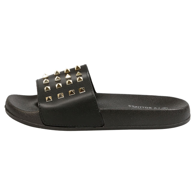Patricia Studded Sliders in Black Faux Leather