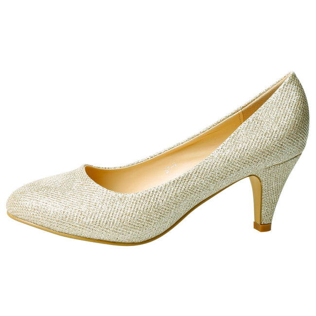 Leona Mid Heel Court Shoes in Champagne Shimmer